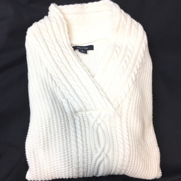 Nautica Cable Knit Sweater Ivory Cream Size S